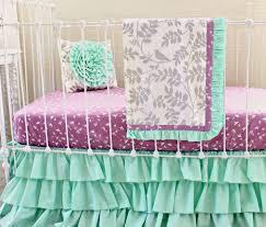 mint green baby bedding purple and mint modern crib