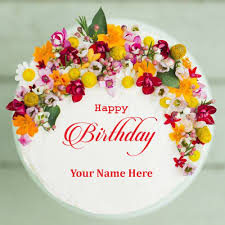 happy birthday colorful flower cake