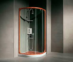 glass shower cubicle curved with hinged door palmas leak
