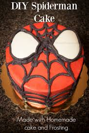 diy spiderman cake with homemade cake and frosting u2022 midgetmomma