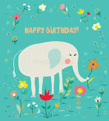 birthday card for kids with elephant and flowers funny design
