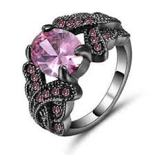 pink and black engagement rings pink sapphire black rhodium plated engagement ring size 8 jewelry