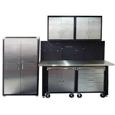 stainless steel workbench cabinets 7 piece standard garage storage system with stainless steel