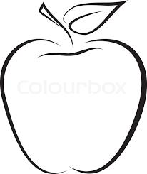 artistic outline sketch of apple vector illustration stock