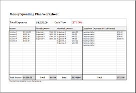money spending plan worksheet for excel excel templates