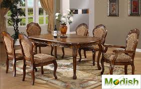 Quality Dining Tables 7 Pc Luxury Solid Wood Carving Dining Table Chair Set Antique