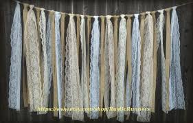 Rustic Curtains And Valances Rustic Charm Barn Wedding Burlap And Lace Garlands Swag Rag