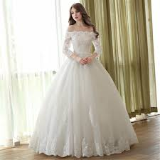 cheap white ball gown wedding dress applique lace long sleeve