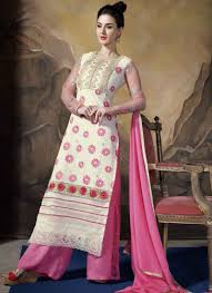 pretty cream and pink polly georgette pakistani dress online buy