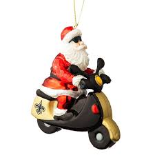 new orleans saints santa gets there on a scooter ornament