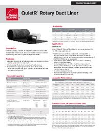 Owens Comfort Systems Quietr Rotary Duct Liner Owens Corning Insulation