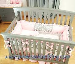 Pink Gray Crib Bedding Pink And Gray Crib Bedding Coral Mint And Grey Woodsy Deer