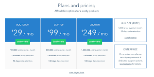 pricing table design pattern example at rollbar 6 of 195
