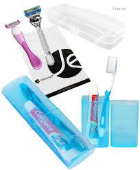Javoedge travel set blue toothbrush toothpaste storage box clear