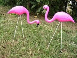 4 small pink flamingo mini lawn ornaments yard