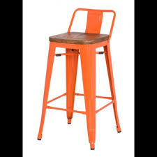 30 Inch Bar Stool With Back Lunch Room Metroline Low Back Metal Bar Stool With Wood Seat In