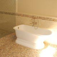 Bedroom Accent Wall With Snazzy Penny Tiles Decoist by Cork Mosaic Penny Tile For The Stylish Bathroom Penny Tile