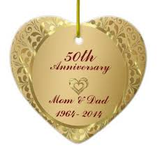 diamonds gold 50th wedding anniversary ceramic ornament zazzle