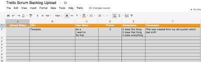 Scrum Excel Spreadsheet Scrum Tools Part 3 Import Backlog Into Trello