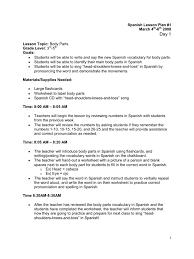 body parts spanish lesson plan