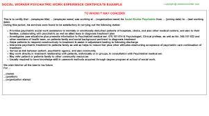 Psychiatrist Resume Social Worker Psychiatric Work Experience Certificate
