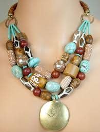 bead necklace with pendant images Dharma necklace tibetan brass pendant with african beads jpg