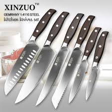 stainless steel kitchen knives set xinzuo kitchen tools 6 pcs kitchen knife set utility cleaver chef