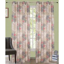 beautiful floral print faux silk grommet curtains 46