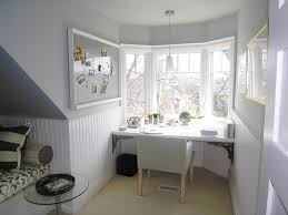 interior excellent study room design with white bay window and