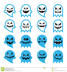 halloween scary ghost spirit icons set stock illustration image