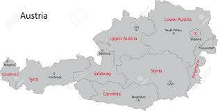 austria map vector gray austria map with states and cities royalty free cliparts