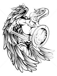splendid black and white angel warrior with a sword and a shield