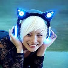 light up cat headphones ear headphones