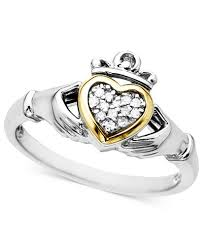 claddagh rings 14k gold and sterling silver ring diamond accent claddagh rings