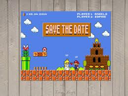 mario invitations wedding invitation mario bros pixel nintendo peach mario