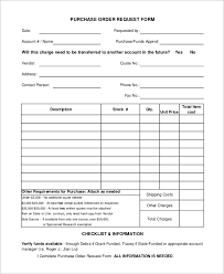purchase order request form template cried info
