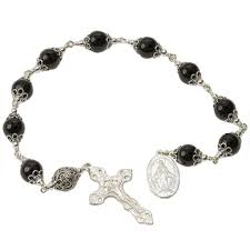 single decade rosary sterling silver single decade rosary 12mm onyx crucifix