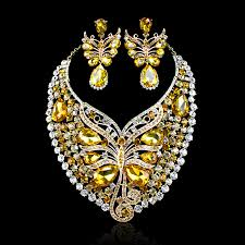 big necklace sets images Hot sale butterfly crystal big necklace earrings party jewelry set jpg