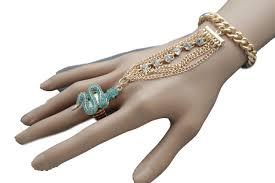 women hand bracelet images Gold metal hand bracelet slave ring multi rhinestone turquoise jpg