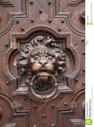 Unique Door Knockers Antique Lion Head Door Knocker On Wooden Door Stock Photo Image