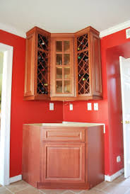 Kitchen Cabinet Door Storage Gorgeous Wood Corner Wine Cabinets With Diagonal Lattice Wine Rack