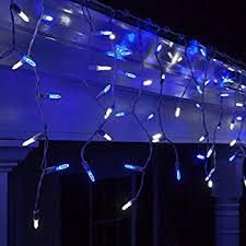 300 twinkling blue icicle lights with white wire string lights