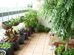 balcony vegetable garden design and orange brick