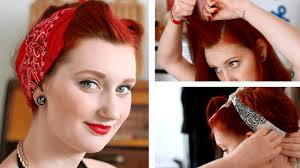 pinup bandana hairstyle tutorial fake victory rolls tutorial