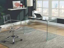 Glass Modern Desk Solid Glass Desk 801581 Clear Tempered Glass Modern