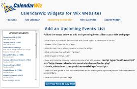 add an upcoming events list to your wix website calendarwiz