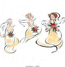 royalty free vector logo of sketched caucasian brides in yellow