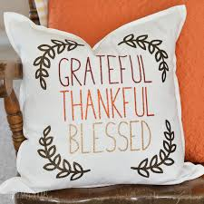 grateful thankful blessed thanksgiving pillow the happy scraps