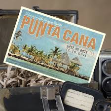 Postcard Save The Dates Vintage Map Postcard Save The Date Punta Cana Dominican Republic