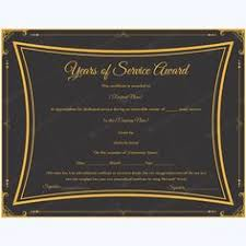 editable years of service award certificate award